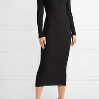 Balmain - Embellished ribbed wool sweater dress