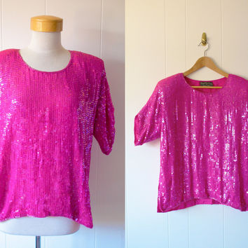 Vintage Hot Pink 80s Sequin Top Blouse Shirt