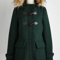 70s Long Long Sleeve Toasty Transit Coat in Forest Green