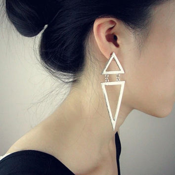 Gold/Silver Plated Triangle Dangle Stud Earrings FREE