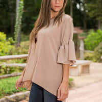 Looking For Ruffle Top, Tan
