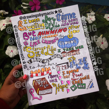 Story of My Life Lyric Drawing by Drawingsbymaci on Etsy