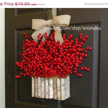 WREATHS ON SALE fall wreaths winter berry wreath Christmas wreaths red pip berry berry wreaths front door decor birch bark decorations red b
