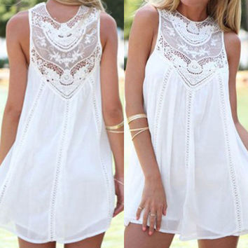 Fashion Women Chiffon Lace Sleeveless Evening Party Beach Short Mini Dress