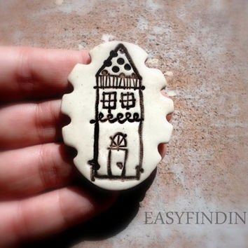 Little Pottery House Pendant Cabochon, White and Chocolate brown, Jewelry Making Supply, Handmade Ceramic Jewelry, whimsical