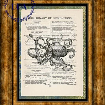Black Octopus Drawing Art - Vintage Dictionary Page Art Print Upcycled Page Print, Swimming thru the Water Print