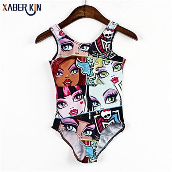 2017 New Arrival Children Swimwear One Piece Girls Swimsuits Brand Design Kids 3-8 Years Swimsuits Summer Style SW257-CGR1