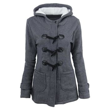 Women s Hooded Sweatshirt Coat with Toggle Details 58ffa0c45b308