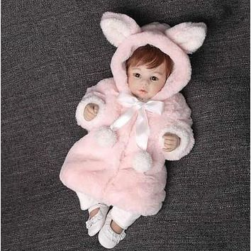 Baby winter coats velvet jackets clothes and baby clothes stuffed rabbit