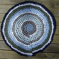 T-Shirt Yarn Crochet Rug in Blues, Green and Gray