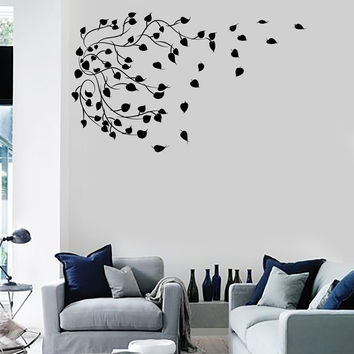 Vinyl Wall Decal Branch Leaves Tree Art House Interior Art Stickers Unique Gift (ig4552)