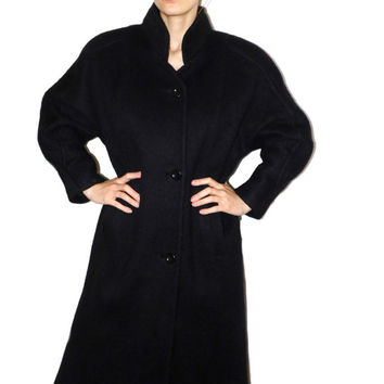 Vintage Full length Wool coat Long Greatcoat Black Winter Coat 80s Soviet coat Classic Military coat