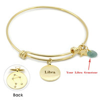 Libra Bracelet (Zodiac Astrology Horoscope Genuine 20 kt Gold Plated Brass Jewelry, BN219G-BR)