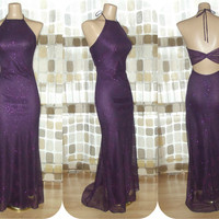 Vintage 90s Sexy Purple Sparkle Open Back Formal Gown 3/4 S/XS Party Dress Fishtail Train