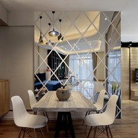 3D modern mirror surface wall stickers Acrylic DIY rectangular pattern wall decals Living room bedroom furniture decoration