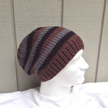 Slouchy beanie - Mens knit wool hat - Striped knit hat - Teens slouchy hat - Mens accessories - Teens striped beanie
