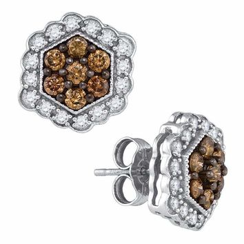 10kt White Gold Women's Round Cognac-brown Color Enhanced Diamond Hexagon Flower Cluster Earrings 7-8 Cttw - FREE Shipping (US/CAN)