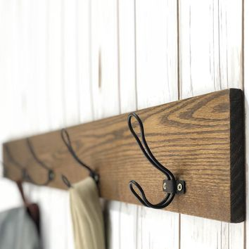 Batsto Rustic Farmhouse Coat Rack - Solid Oak, Handmade