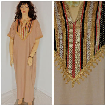 Kaftan tunic dress, size L / plus size,   maxi caftan dress, bohemian silk kaftan dress, hippie, Indie