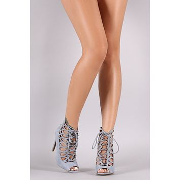 Qupid Suede Caged Lace-Up Stiletto Pump