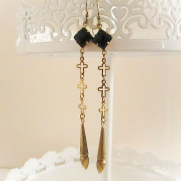 Black Diamond Gem Dangle Cross Earrings, Statement Earrings, Vintage Black Glass, Bridesmaid Earrings, Spring Jewelry
