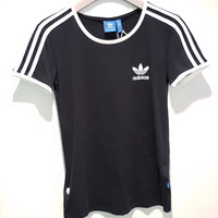 adidas Originals Unisex Black Three Stripe Boyfriend T-Shirt