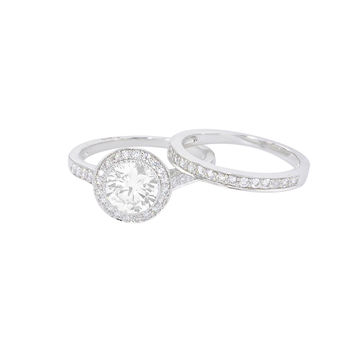 Womens Engagement Ring Set Bridal Clear CZ .925 Sterling Silver