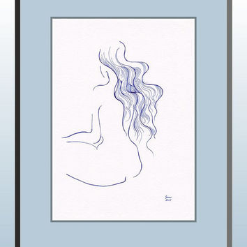 Original drawing. Nude woman with long hair. Blue illustration for gallery wall.
