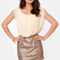 Countdown to Cute Cream and Gold Sequin Dress