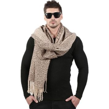 Men's Thick Wool Knitted Cashmere Scarf
