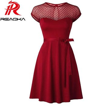Reaqka Heart Pattern Gauze Mesh Summer Dress Patchwork Swing Cocktail Bow Women Little Black Dress 2017 Fashion Women Clothing