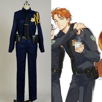 Hot Anime Zootopia Cosplay costume Fox Nick full set Police Uniform Cosplay Costume Halloween Adult Men Women costume