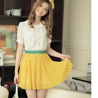 Women Chiffon Elastic Waist Pleating Yellow Cute One Size Dress@MF9854y - Fashion Dresses - Women