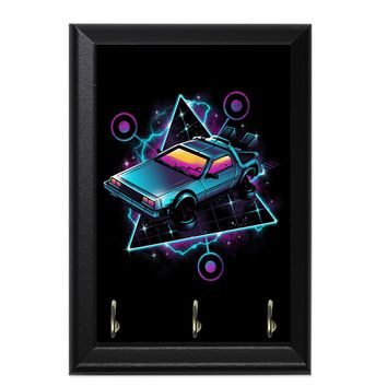 Retro Wave Time Machine Decorative Wall Plaque Key Holder Hanger