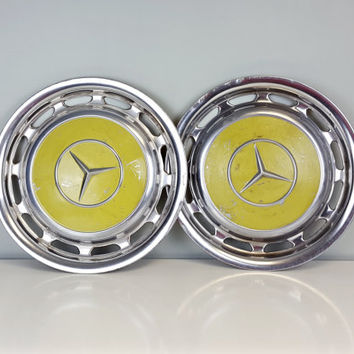 Vintage Mercedes Hubcaps Bright Yellow, Vintage Mercedes Benz Wheel Covers, Yellow and Chrome Wall Hanging, Industrial Decor, Man Cave Decor