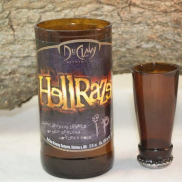 Unique Glassware Upcycled from Du Claw's Hell Razer Beer Bottles, Shot Glass, Drinking Glass, Du Claw HellRazer Gift Set