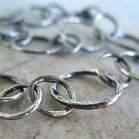 Fine Silver Bracelet, Circles, Hammered  Oxidized Jewelry