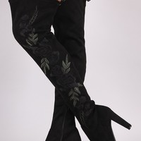 Wild Diva Lounge Embroidered Floral Chunky Heeled Suede OTK Boots