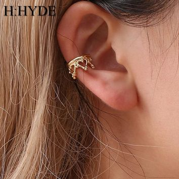 H:HYDE Boho Vintage Clip Earrings Jewelry for Women Silver-Color Geometric Crown Waterdrop Heart Shapes Ear Cuff Chain Earrings