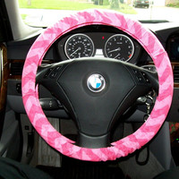 Double Pink Medium Chevron Steering Wheel Cover by mammajane