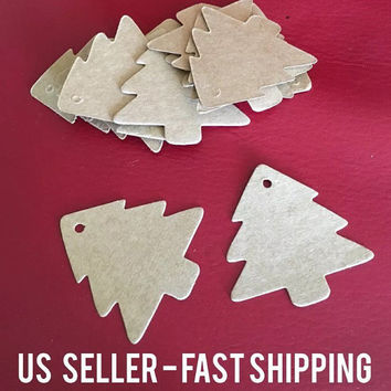 Set of 20 Christmas tree xmas kraft paper gift tags