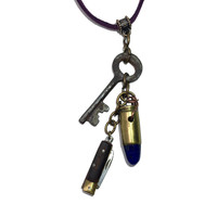 Lapis Necklace 18 Bullet Skeleton Key Knife