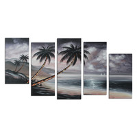 Cloudy Day at the Beach Landscape Canvas Wall Art Oil Painting