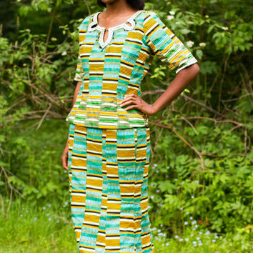 Green Kente Skirt and Top