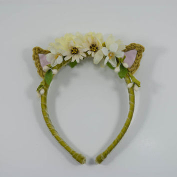 SPRING SALE-Green Cat Ear Headband-Crochet headband-Nekomimi-Kawaii-Sweet Lolita-Whimsical -Floral Cat Ears