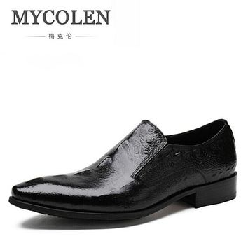 MYCOLEN Mens Dress Italian Leather Crocodile Wedding Shoes Luxury Brand Mens Loafers Genuine Leather Formal Loafers Moccasins
