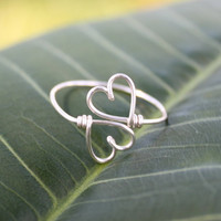 Wire Heart To Heart Ring  Double Hearts Ring by FabulousWire