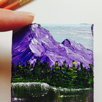 Mountain Painting, Miniature Painting, Square Canvas, Landscape Painting, Original Art, Acrylic Painting, Tiny Canvas, Purple Mountain
