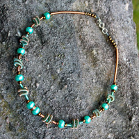 Wire Wrapped Aqua and Copper Necklace