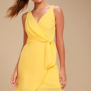 Baldwin Yellow High-Low Wrap Midi Dress